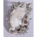Cameo Italy Free size 925 Silver Ring with Lady and Hearts
